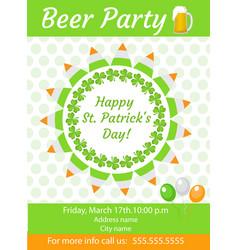 Happy st patrick s day invitation poster flyer vector