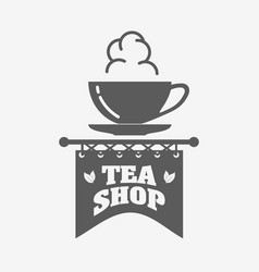 tea shop logo badge or label design template with vector image vector image