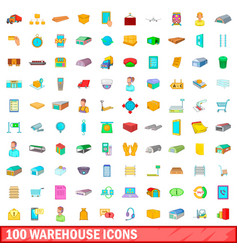 100 warehouse icons set cartoon style vector