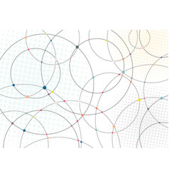 abstract lines circles and multicolor dots with vector image