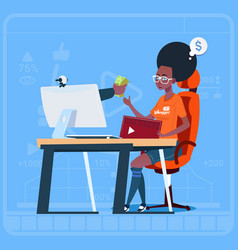 african american girl blogger sit at computer vector image
