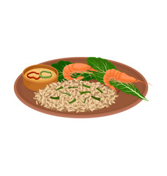 Appetizing thai food rice with shrimps and vector