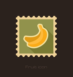 Banana flat stamp tropical fruit vector