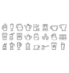 barista coffee icons set outline style vector image