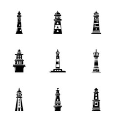 beacon icons set simple style vector image