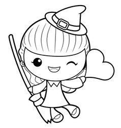 Black and white witch mascot is holding a broom vector