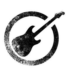 Black guitar ink stamp vector