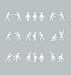 Boxing stick figures on grey vector