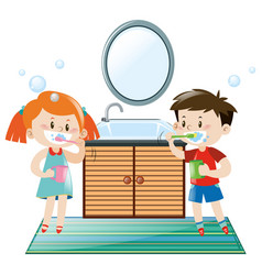 boy and girl brushing teeth in bathroom vector image