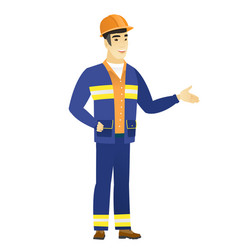Builder with arm out in a welcoming gesture vector