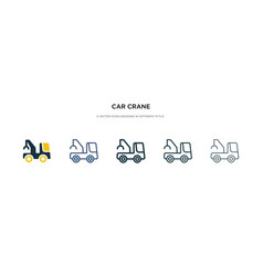 Car crane icon in different style two colored vector