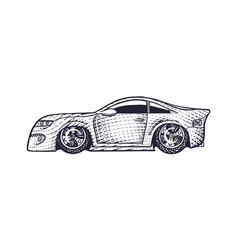 car icon hand drawn engraved sketch for logo vector image
