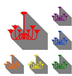 Chandelier simple sign set of red orange yellow vector