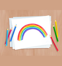 child drawing rainbow arc vector image