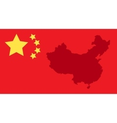 China state flag and map vector image