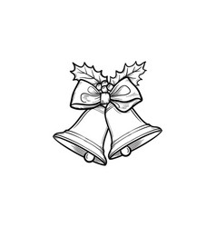 christmas bells hand drawn outline doodle icon vector image