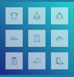 clothes icons line style set with evening gown vector image