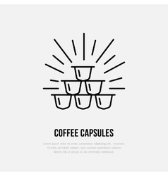 Coffee capsules line icon Barista vector