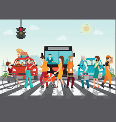 crosswalk path on the road with cars vector image