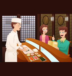 Customers ordering sushi vector