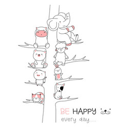 cute baanimal with tree cartoon hand drawn vector image