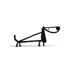 cute dachshund dog sketch for your design vector image