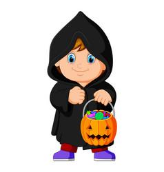 cute kid witch walking in black cloak vector image