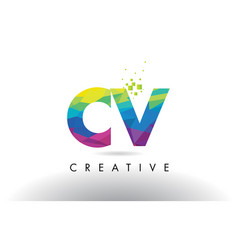 Cv c v colorful letter origami triangles design vector