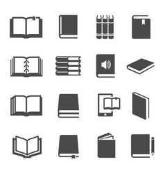 different books black glyph icons set vector image