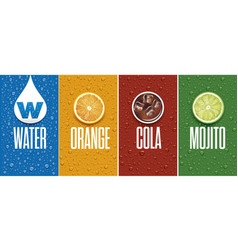 drinks and juice background with drops and orange vector image