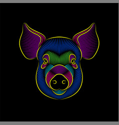 engraving stylized psychedelic pig portrait on vector image