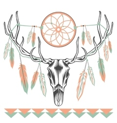 Ethnic deer skull Dreamcatcher feathers vector