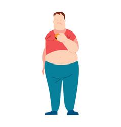 fat man eating fast food vector image