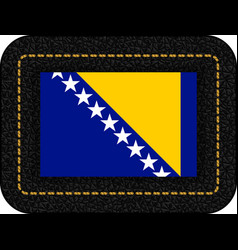 flag of bosnia and herzegovina icon on black vector image