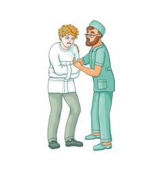 flat doctor hugging mental patient vector image