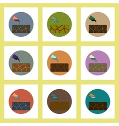 Flat icons set of cracked earth and bottle of vector
