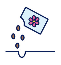Flowers seed bag line and fill style icon vector