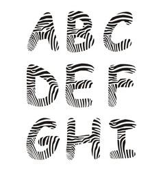 Font zebra letter A -I vector