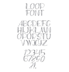 Freehand handdrawn loop alphabet isolated on vector