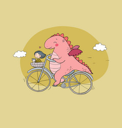 funny cartoon dinosaur on a bicycle cute dragon vector image
