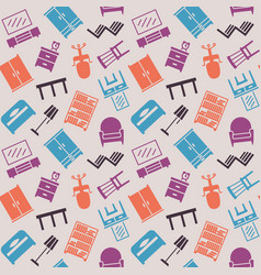 Furniture seamless pattern background vector