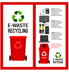 Garbage red container info with e-waste vector