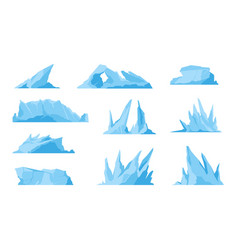 Glaciers icebergs ice mountains and compressed vector