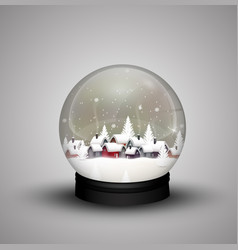 Glass dome winter in wooden house on christmas vector