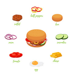 Hamburger menu with different ingredients vector