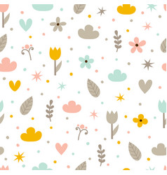 hand drawn seamless pattern with flowers stars vector image