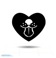 heart black icon love symbol dog tongue in vector image