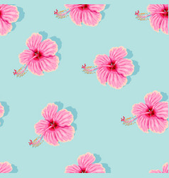 high detail pink hibiscus seamless pattern vector image