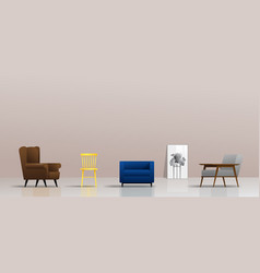 interior background with different types of chairs vector image