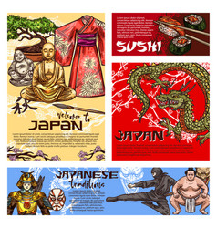 japanese sushi dragon buddha samurai sketches vector image